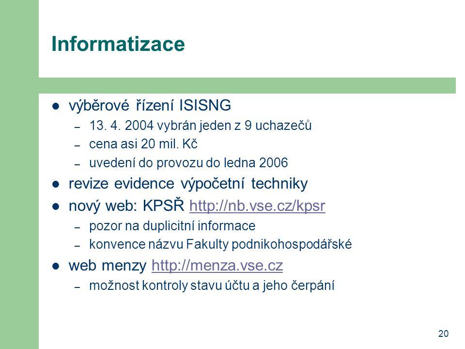 Informatizace výběrové řízení ISISNG