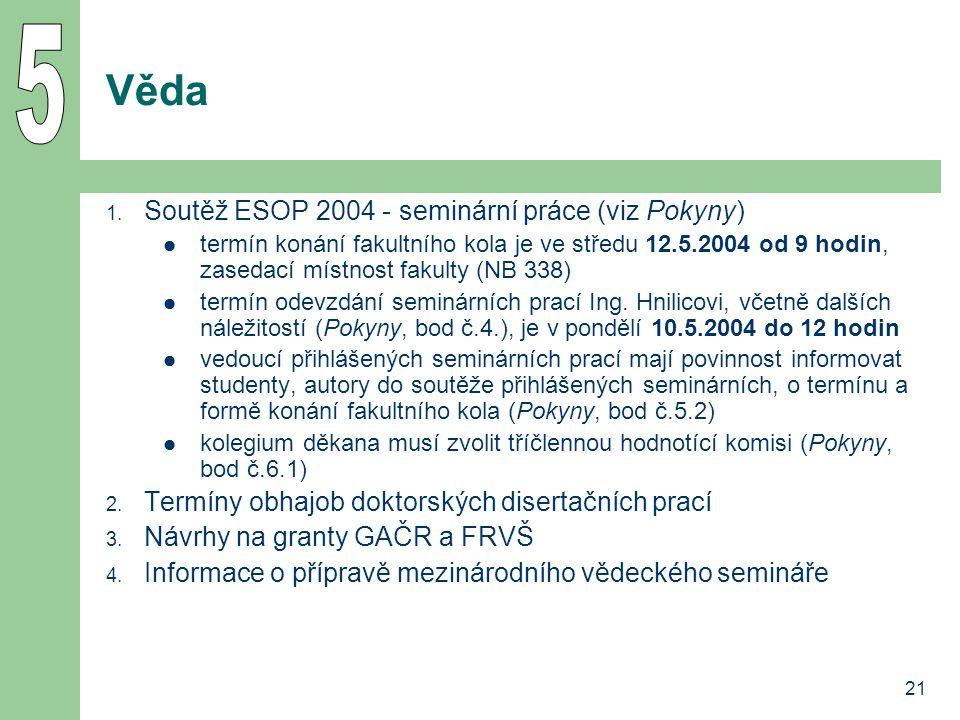 5 Věda Soutěž ESOP 2004 - seminární práce (viz Pokyny)