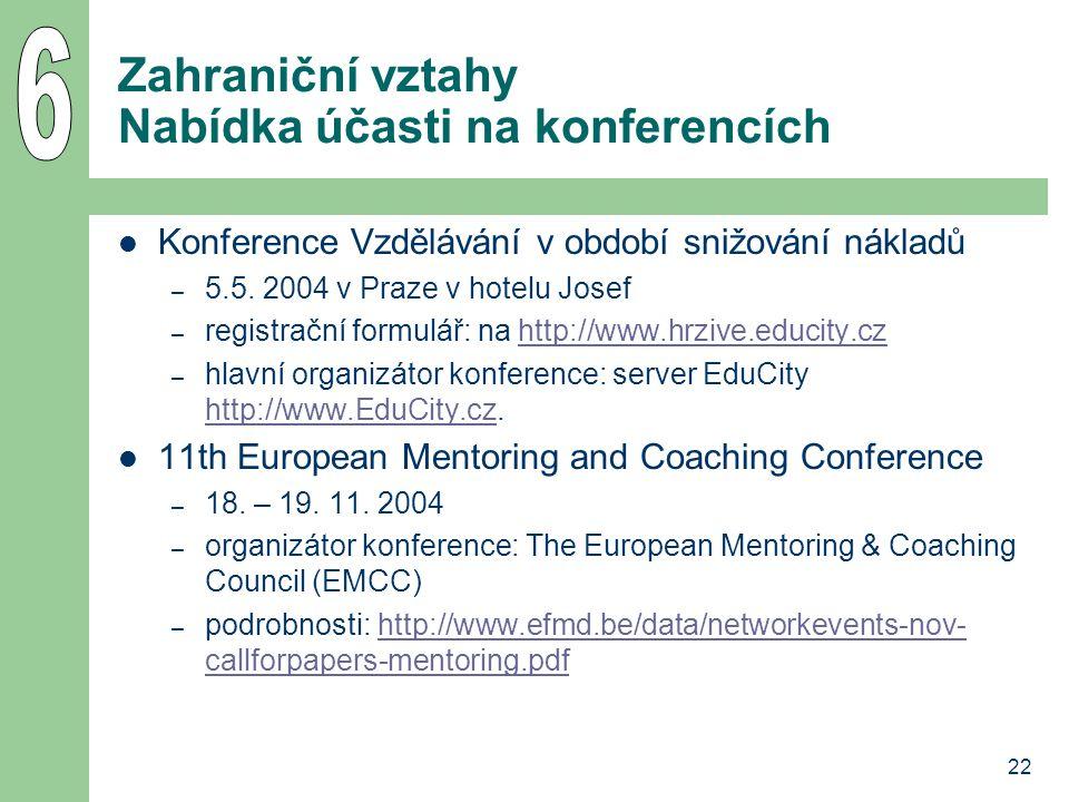 Zahraniční vztahy Nabídka účasti na konferencích