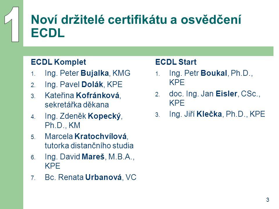 Noví držitelé certifikátu a osvědčení ECDL