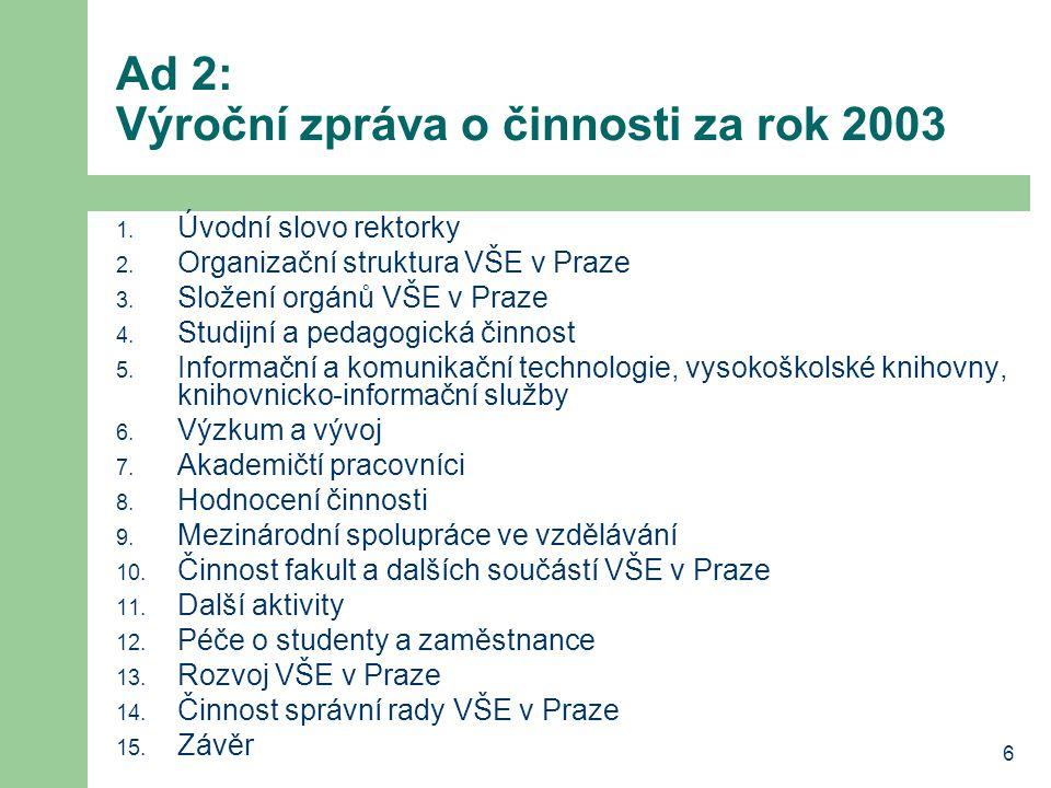 Ad 2: Výroční zpráva o činnosti za rok 2003