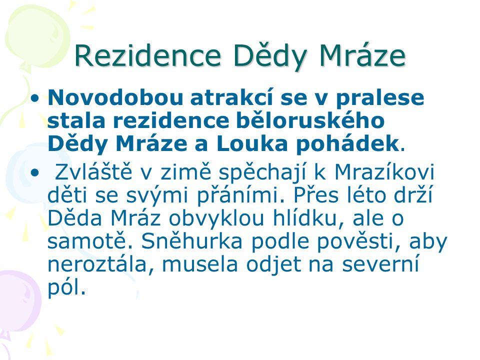 Rezidence Dědy Mráze Novodobou atrakcí se v pralese stala rezidence běloruského Dědy Mráze a Louka pohádek.