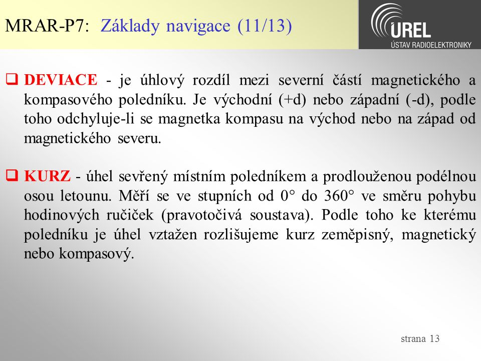 MRAR-P7: Základy navigace (11/13)