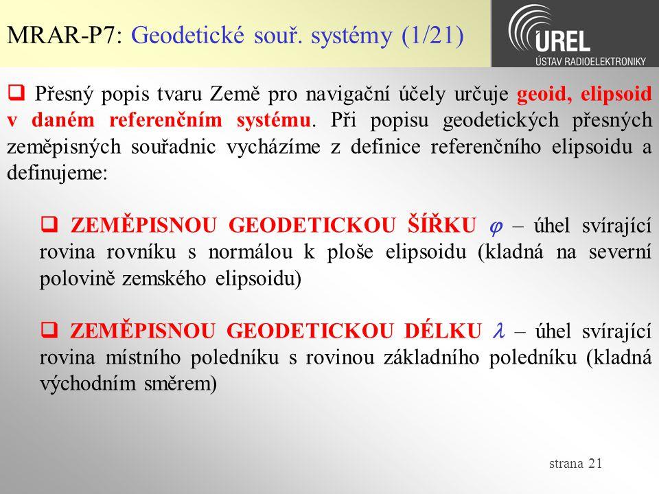 MRAR-P7: Geodetické souř. systémy (1/21)