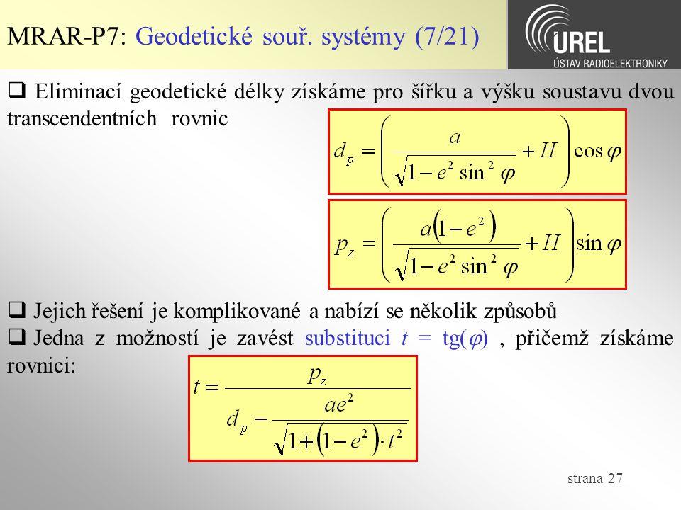 MRAR-P7: Geodetické souř. systémy (7/21)