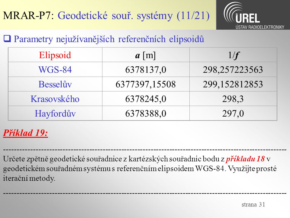 MRAR-P7: Geodetické souř. systémy (11/21)