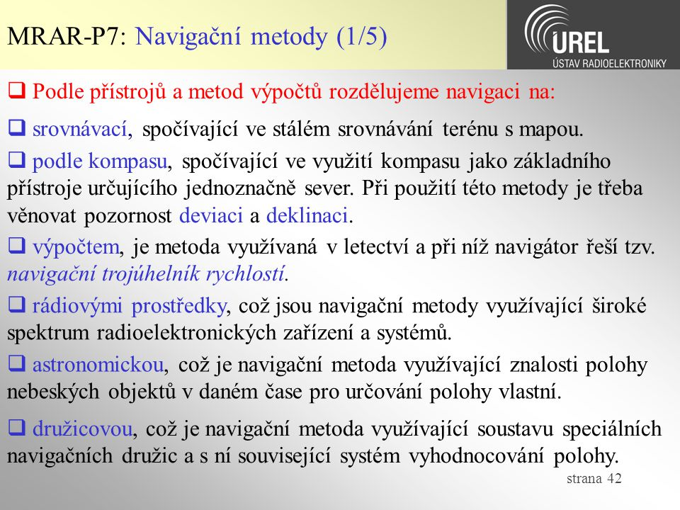 MRAR-P7: Navigační metody (1/5)