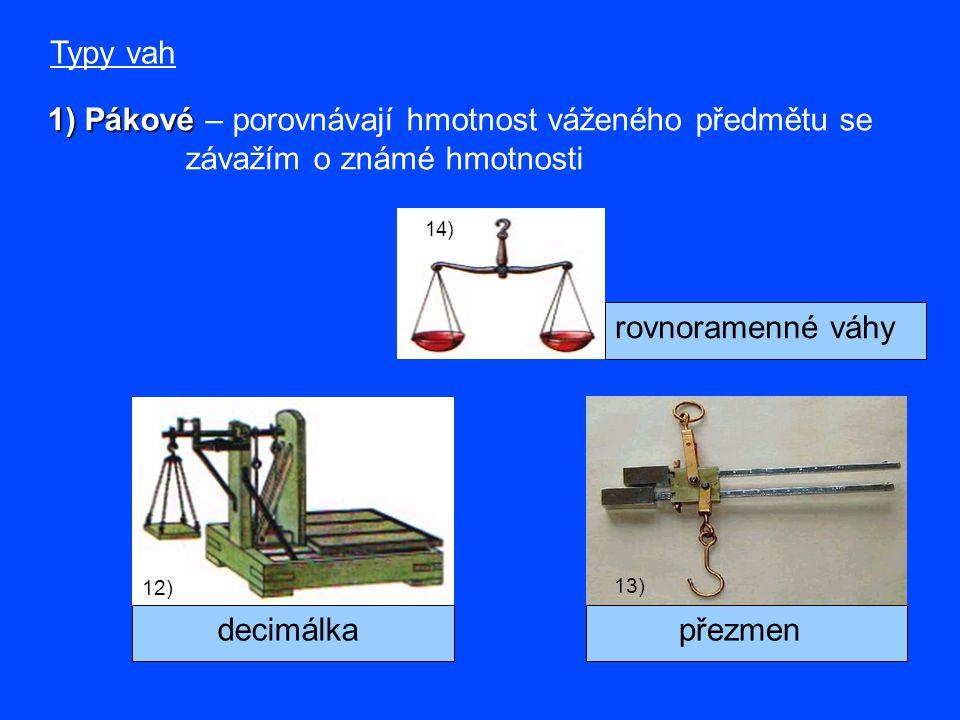 1) Pákové – porovnávají hmotnost váženého předmětu se