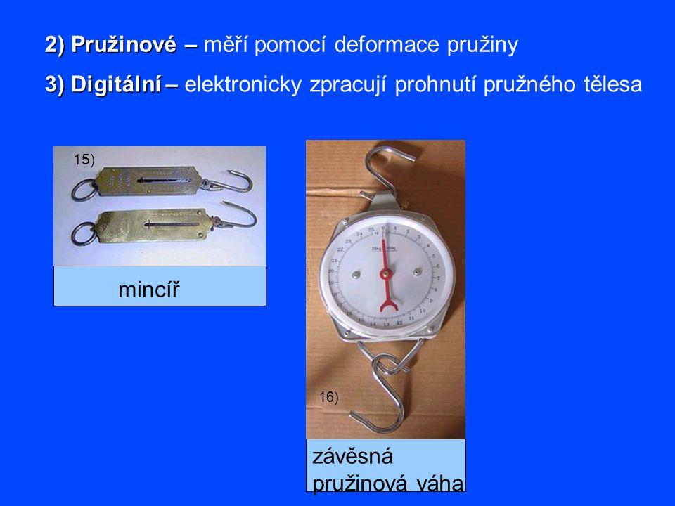 2) Pružinové – měří pomocí deformace pružiny