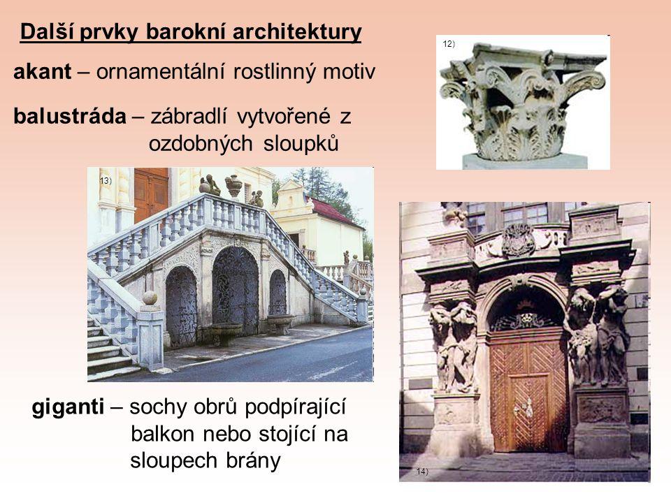 Další prvky barokní architektury