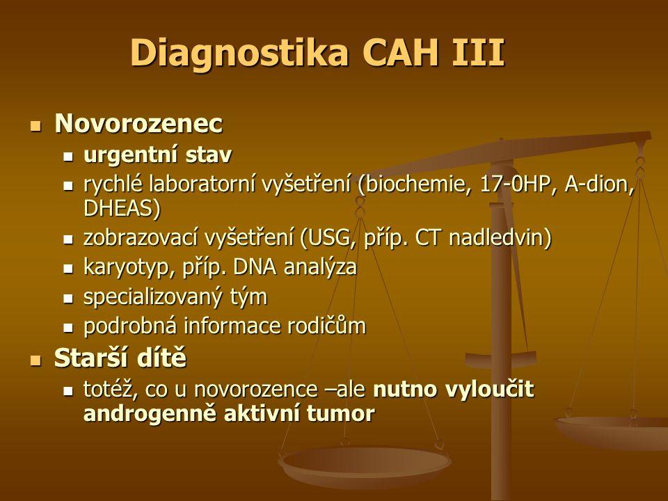 Diagnostika CAH III Novorozenec Starší dítě urgentní stav