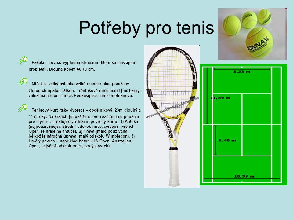 Potřeby pro tenis Raketa – rovná, vyplněná strunami, které se navzájem proplétají. Dlouhá kolem 60-70 cm.