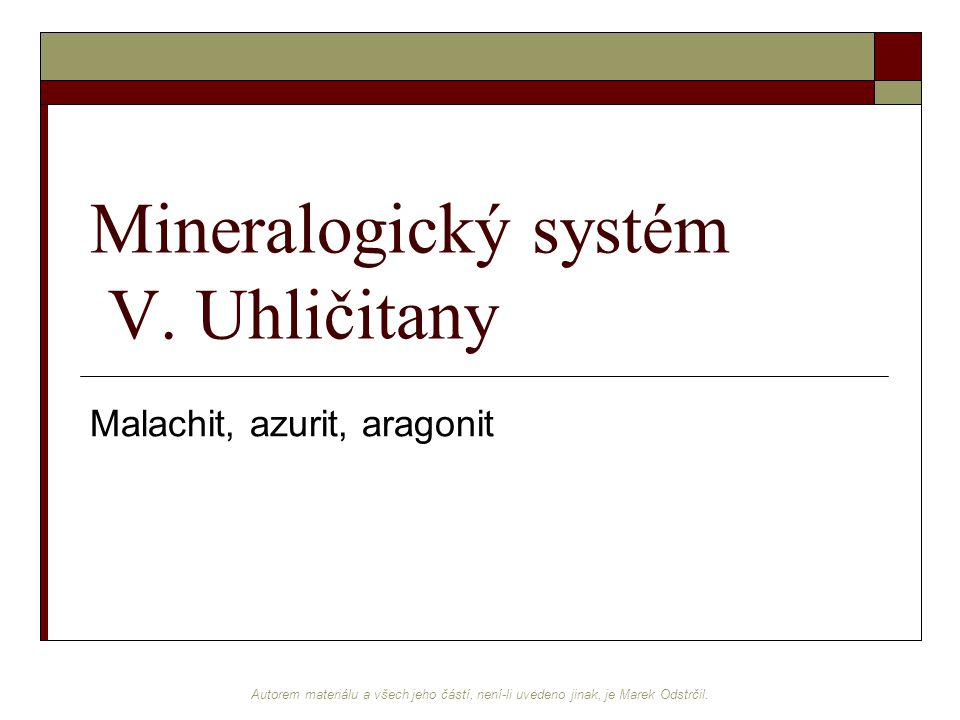 Mineralogický systém V. Uhličitany