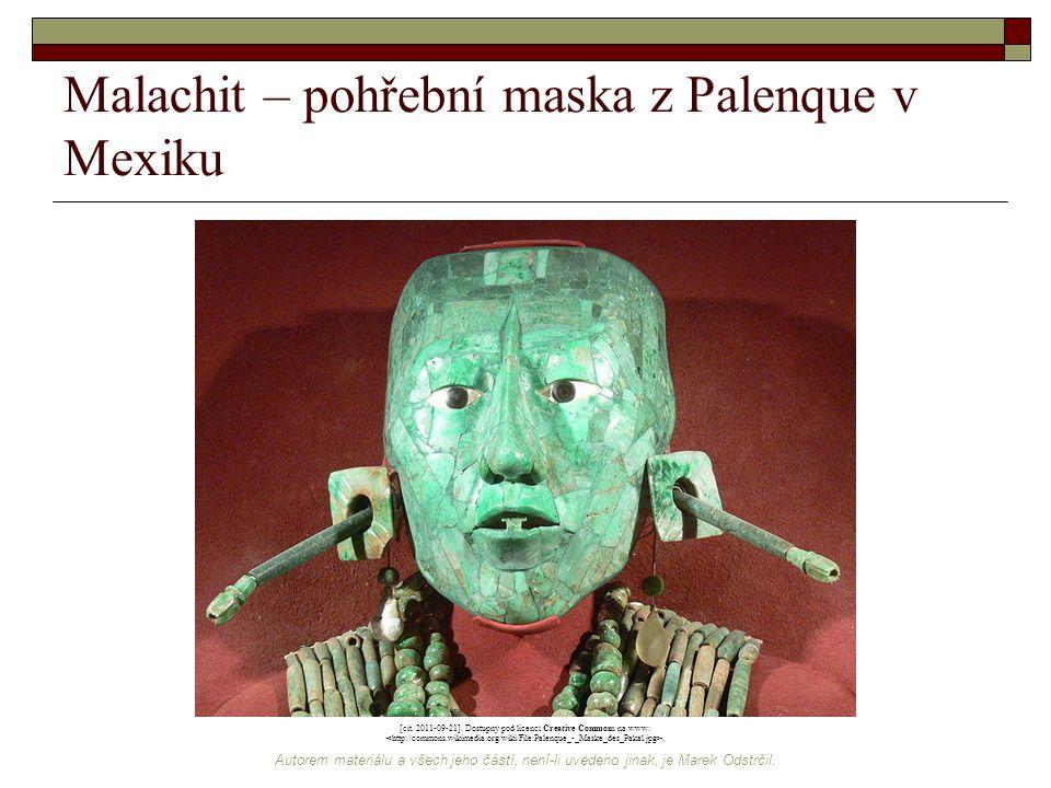 Malachit – pohřební maska z Palenque v Mexiku