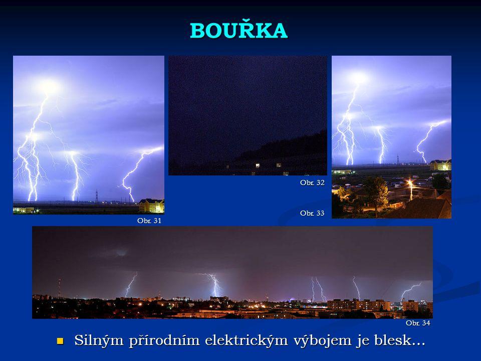 BOUŘKA Silným přírodním elektrickým výbojem je blesk… Obr. 32 Obr. 33