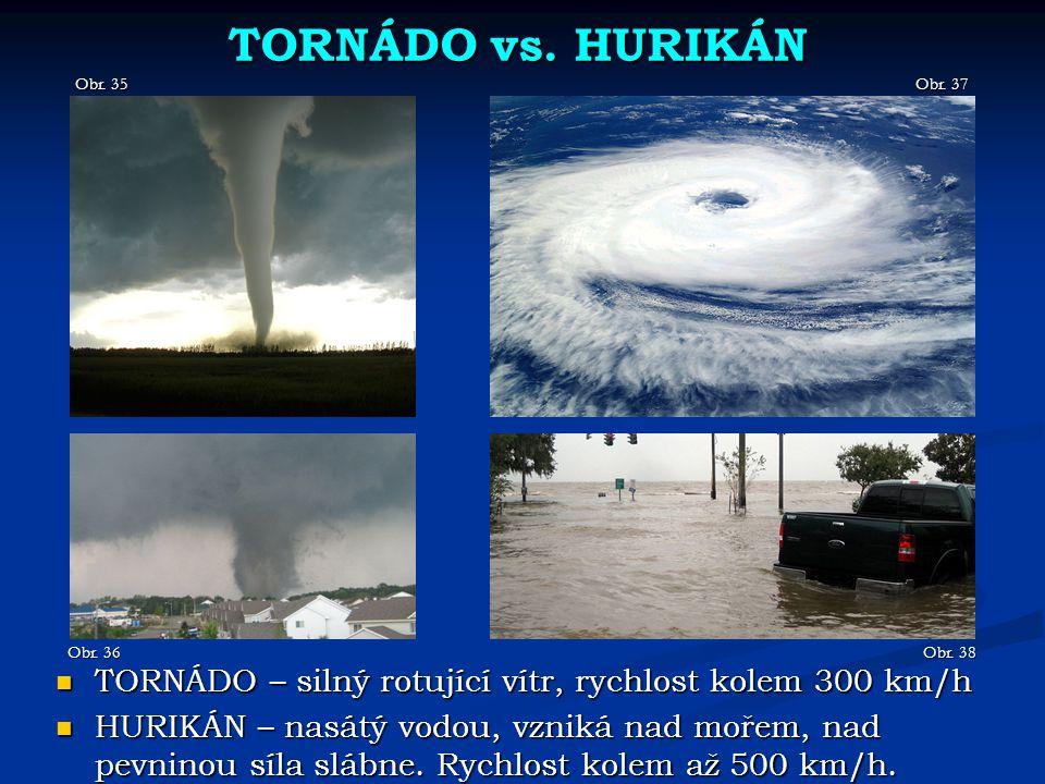 TORNÁDO vs. HURIKÁN Obr. 35. Obr. 37. Obr. 36. Obr. 38. TORNÁDO – silný rotující vítr, rychlost kolem 300 km/h.