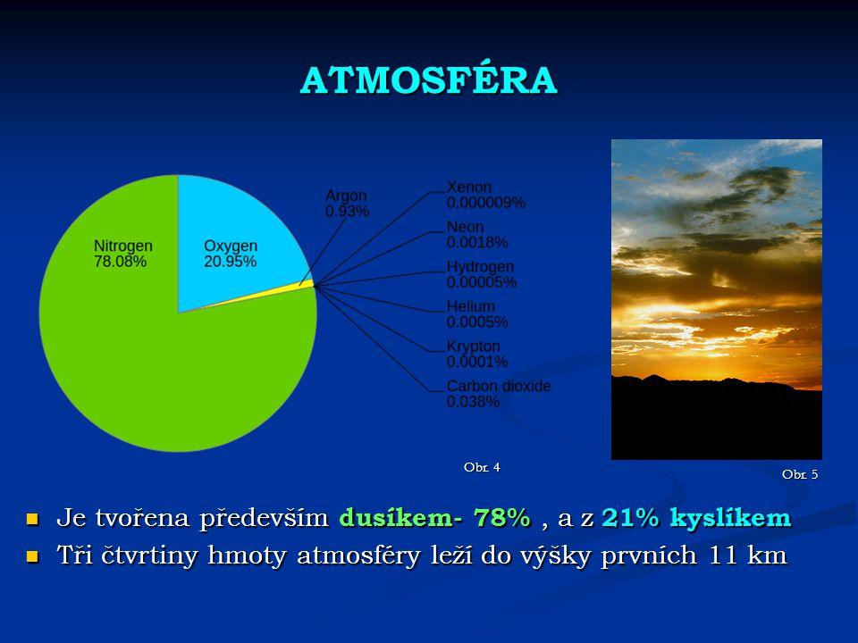 ATMOSFÉRA Je tvořena především dusíkem- 78% , a z 21% kyslíkem