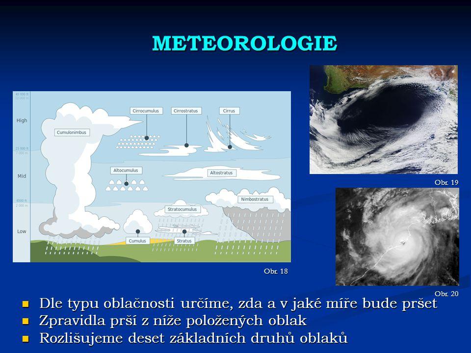 METEOROLOGIE Dle typu oblačnosti určíme, zda a v jaké míře bude pršet