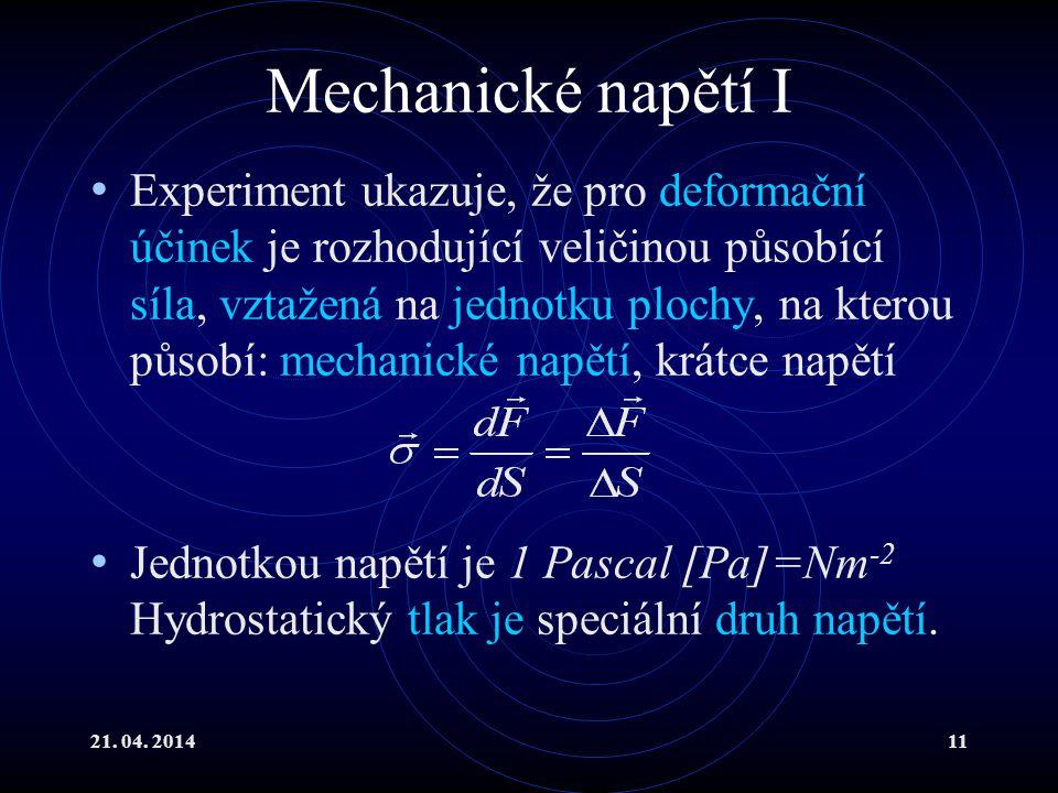 Mechanické napětí I
