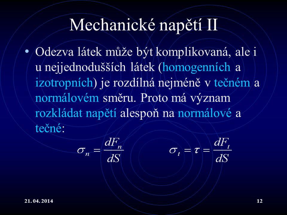 Mechanické napětí II