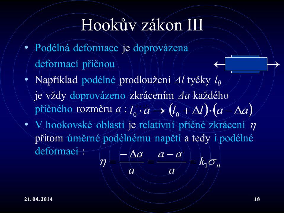 Hookův zákon III Podélná deformace je doprovázena deformací příčnou