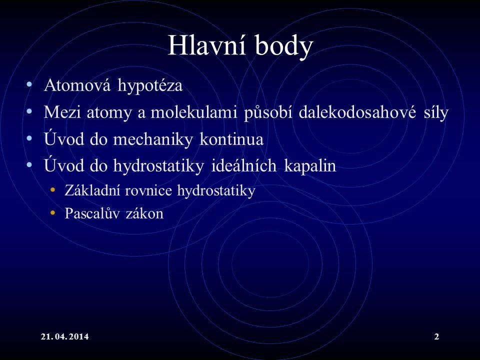 Hlavní body Atomová hypotéza