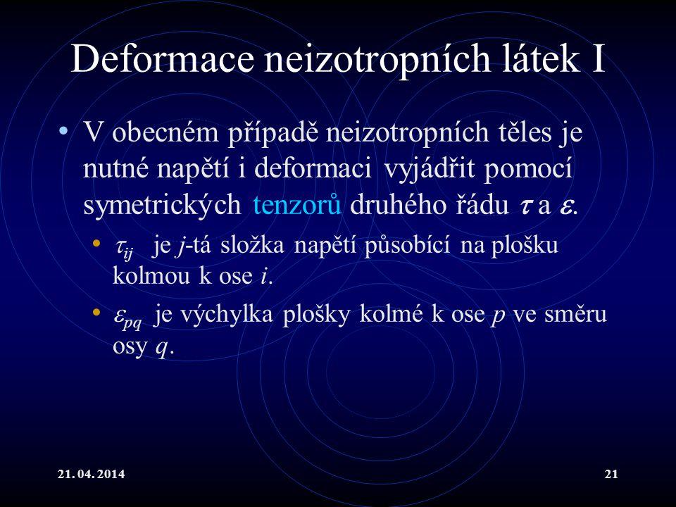 Deformace neizotropních látek I
