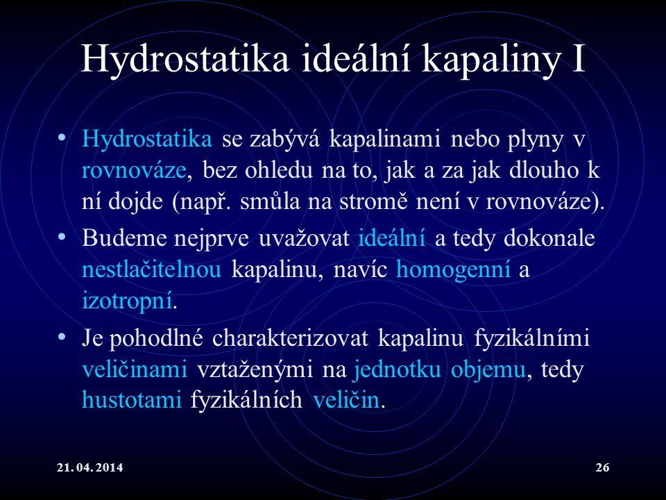 Hydrostatika ideální kapaliny I
