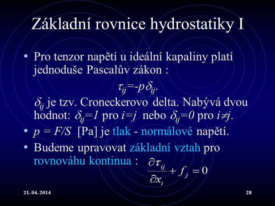 Základní rovnice hydrostatiky I