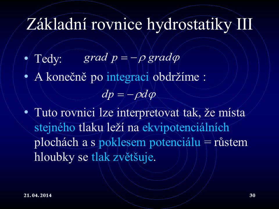 Základní rovnice hydrostatiky III