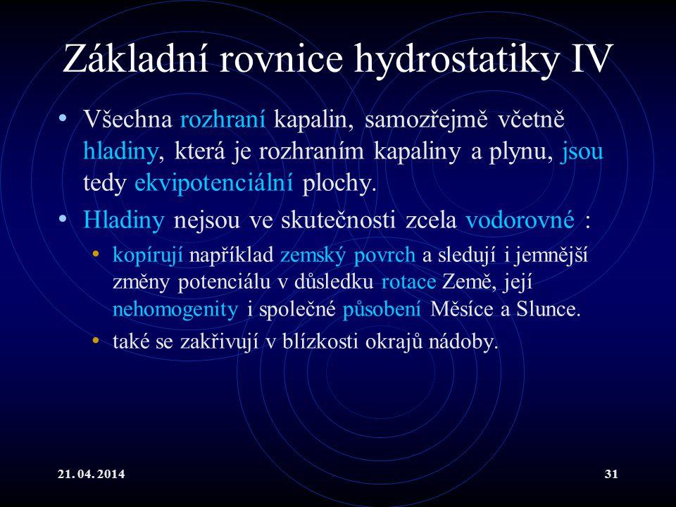 Základní rovnice hydrostatiky IV