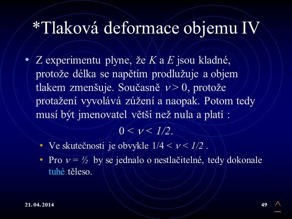*Tlaková deformace objemu IV