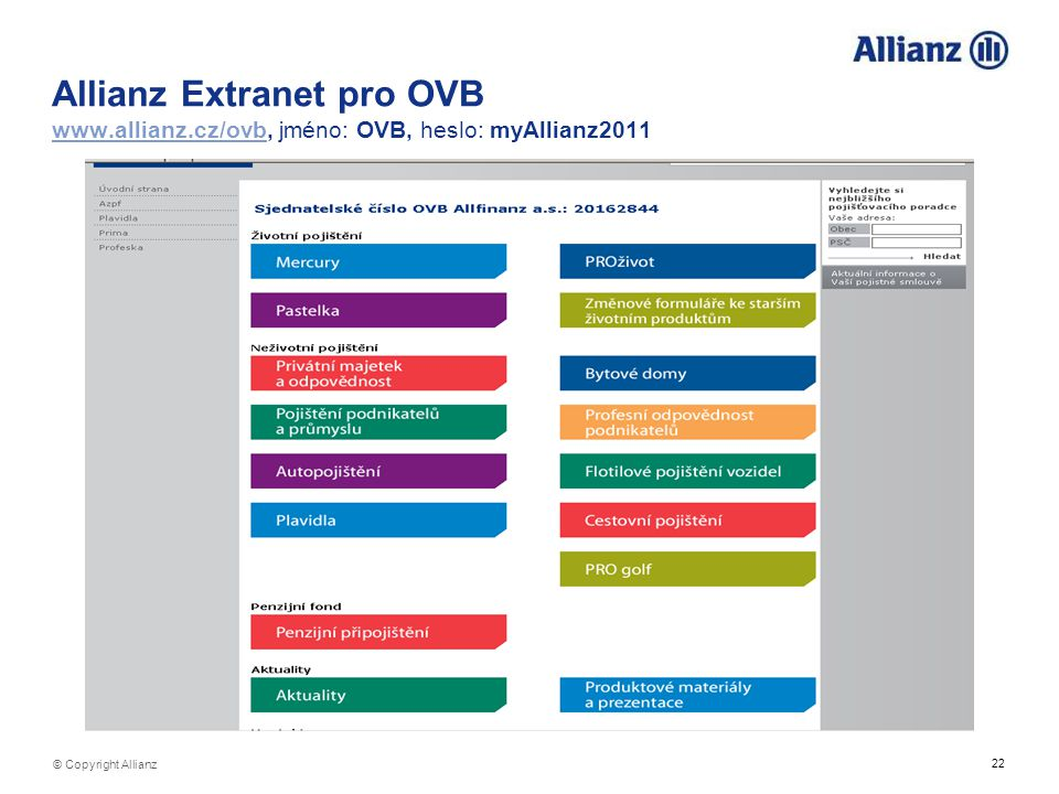 Allianz Extranet pro OVB www. allianz