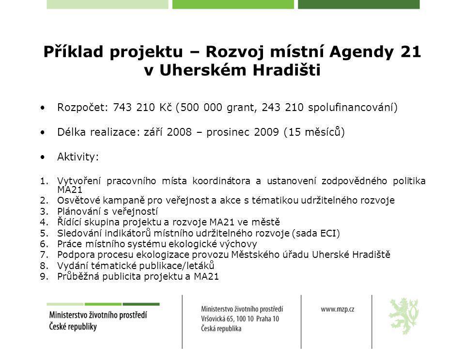 Příklad projektu – Rozvoj místní Agendy 21 v Uherském Hradišti