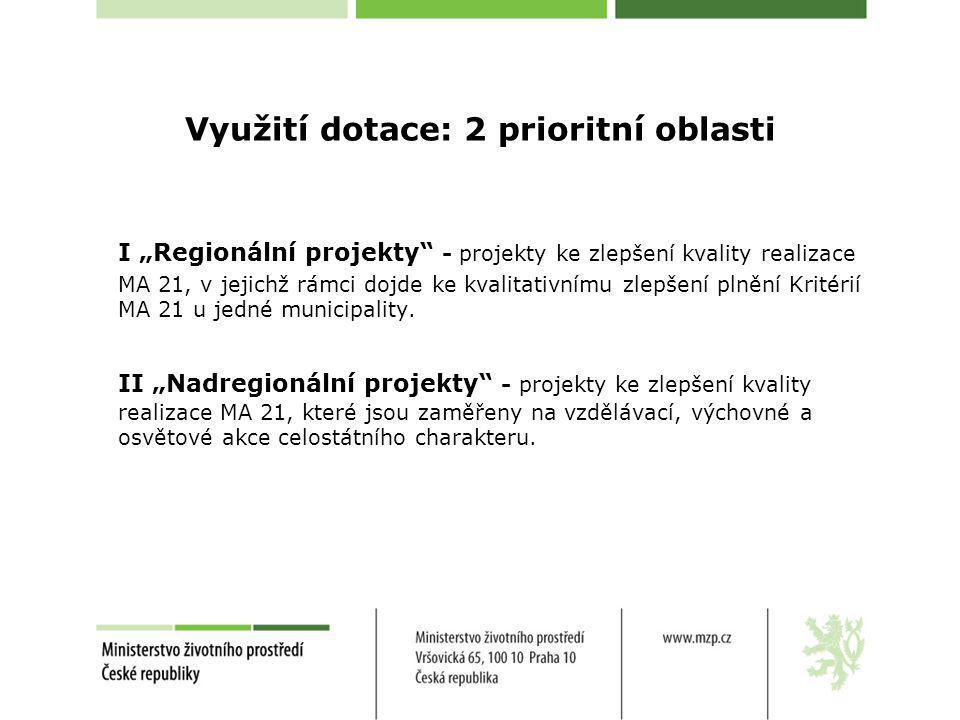 Využití dotace: 2 prioritní oblasti