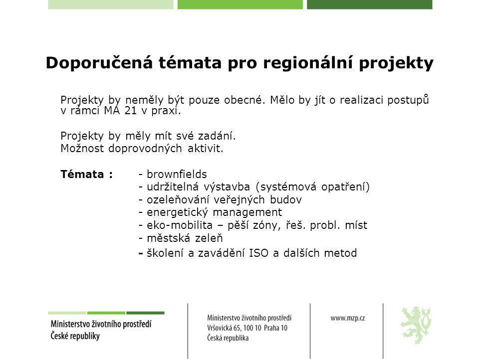Doporučená témata pro regionální projekty