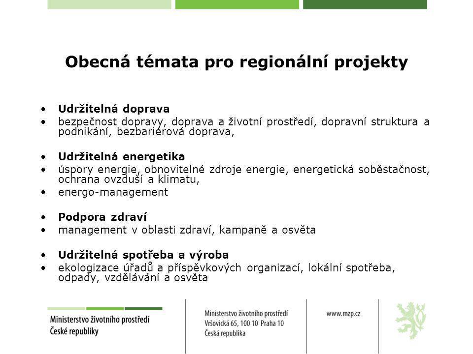 Obecná témata pro regionální projekty