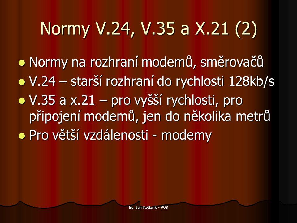 Normy V.24, V.35 a X.21 (2) Normy na rozhraní modemů, směrovačů