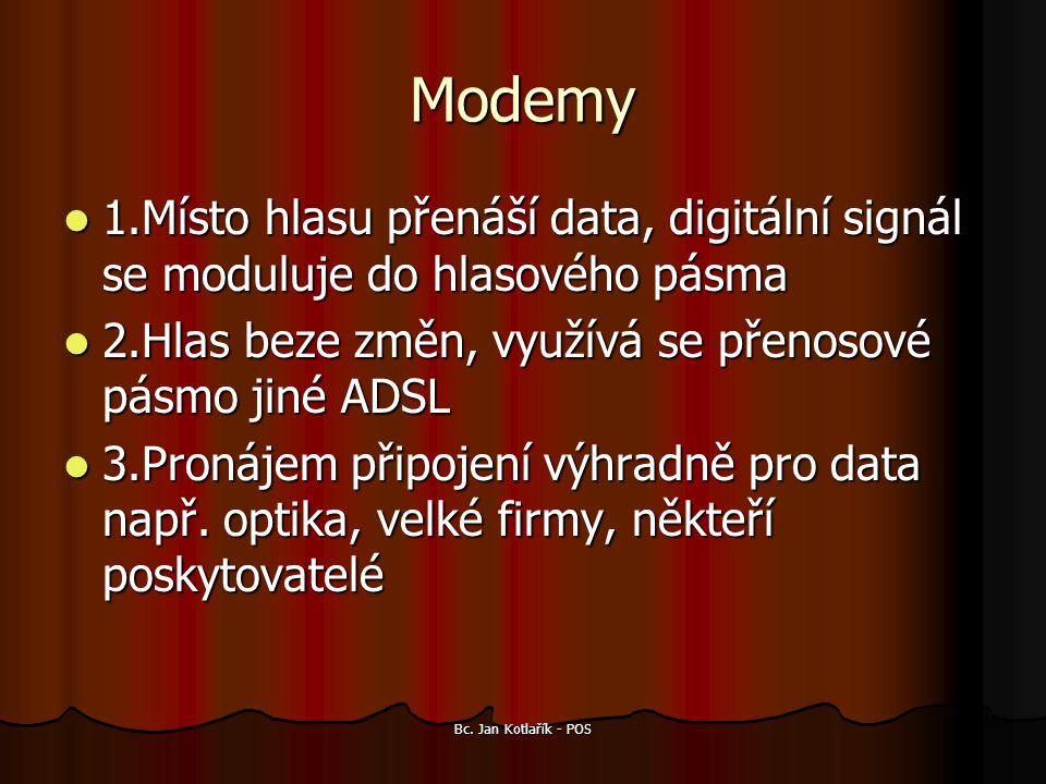 Modemy 1.Místo hlasu přenáší data, digitální signál se moduluje do hlasového pásma. 2.Hlas beze změn, využívá se přenosové pásmo jiné ADSL.