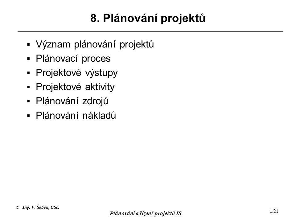 8. Plánování projektů Význam plánování projektů Plánovací proces