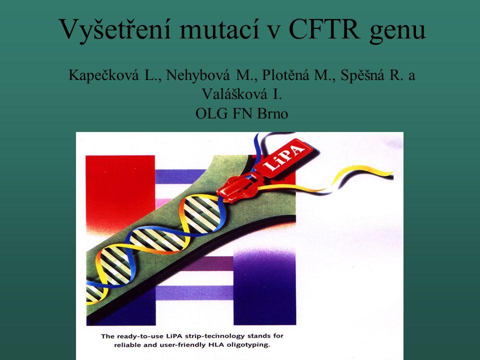 Vyšetření mutací v CFTR genu Kapečková L. , Nehybová M. , Plotěná M
