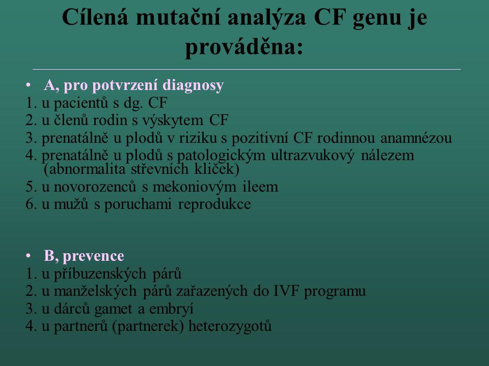 Cílená mutační analýza CF genu je prováděna: