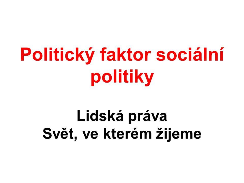 Politický faktor sociální politiky Lidská práva Svět, ve kterém žijeme