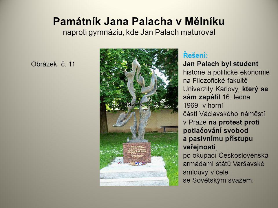 Památník Jana Palacha v Mělníku naproti gymnáziu, kde Jan Palach maturoval