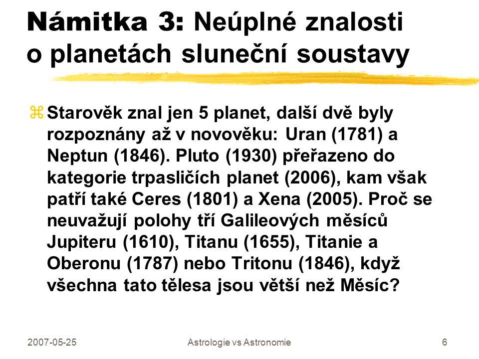 Námitka 3: Neúplné znalosti o planetách sluneční soustavy