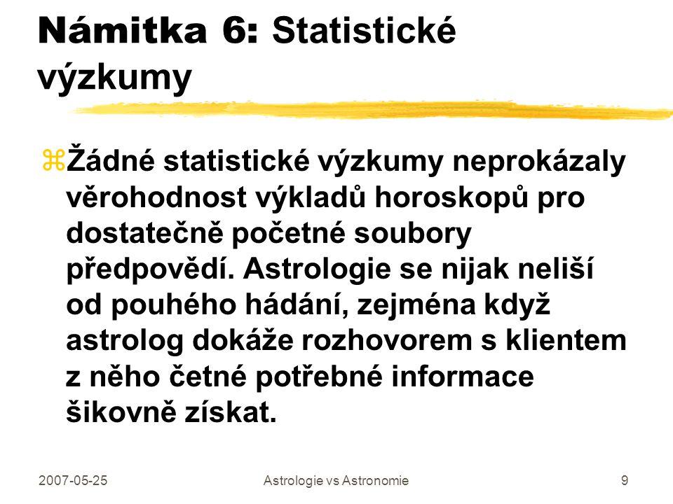 Námitka 6: Statistické výzkumy