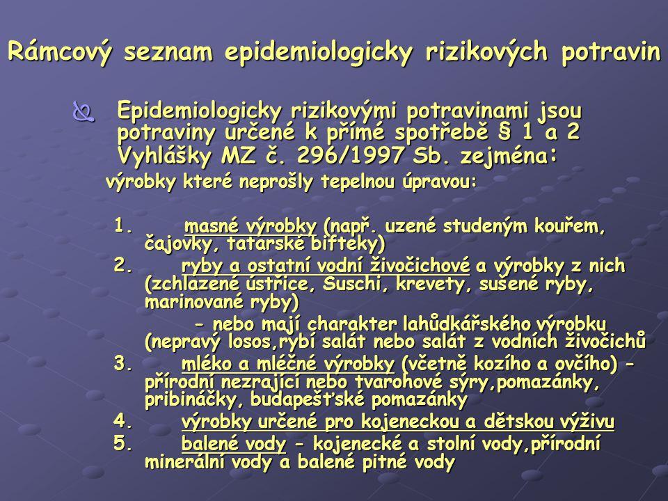 Rámcový seznam epidemiologicky rizikových potravin