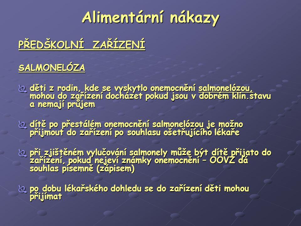 Alimentární nákazy PŘEDŠKOLNÍ ZAŘÍZENÍ SALMONELÓZA
