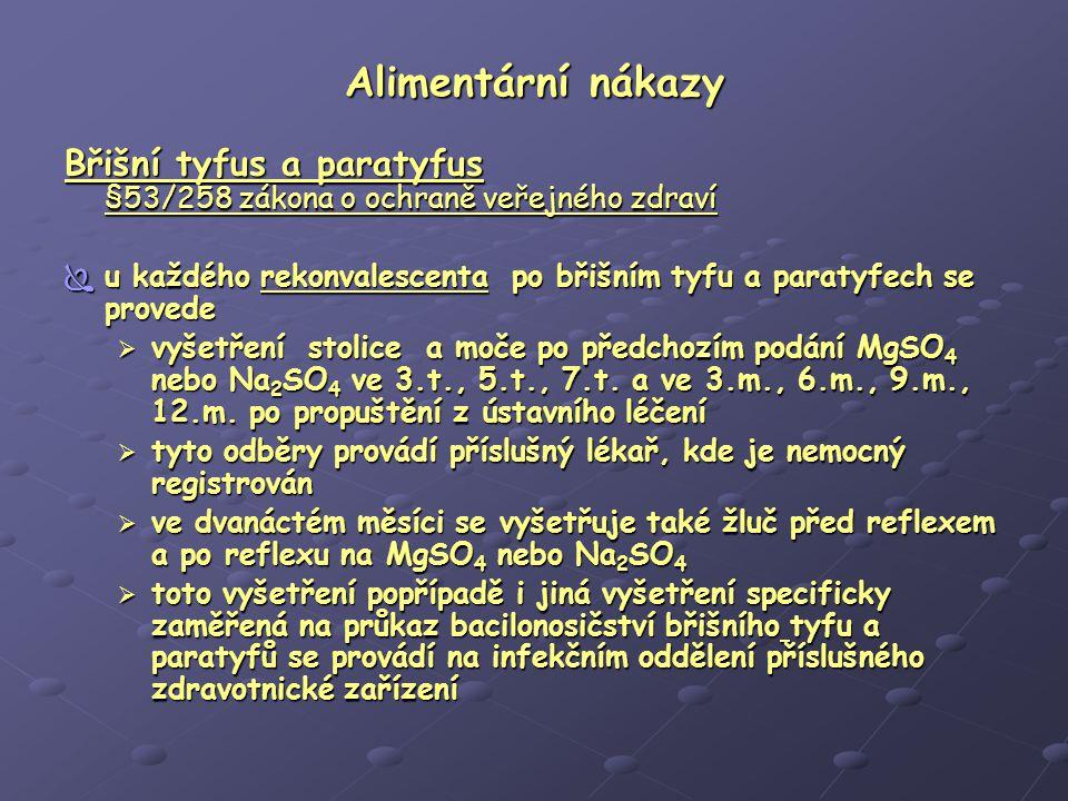 Alimentární nákazy Břišní tyfus a paratyfus §53/258 zákona o ochraně veřejného zdraví.