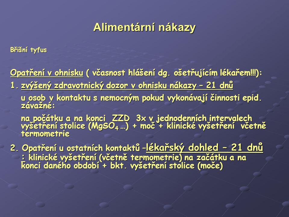 Alimentární nákazy Břišní tyfus. Opatření v ohnisku ( včasnost hlášení dg. ošetřujícím lékařem!!!):